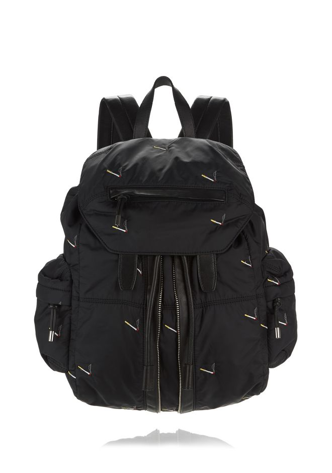 ALEXANDER WANG BACKPACKS MARTI BACKPACK IN BLACK NYLON WITH CIGARETTE EMBRIODERY