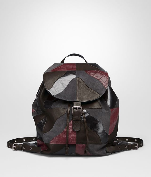 BOTTEGA VENETA BACKPACK IN MULTICOLOR MULTIMATERIAL, PRINTED CROCODILE DETAILS Messenger Bag Man fp