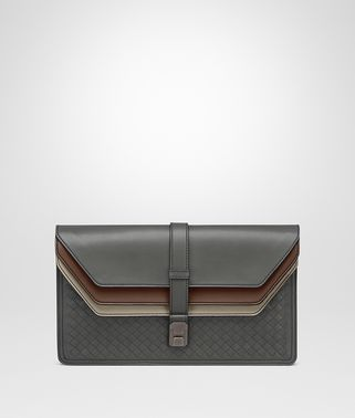 DOCUMENT CASE IN NEW LIGHT GREY NEW CIGAR FUME' INTRECCIATO CALF