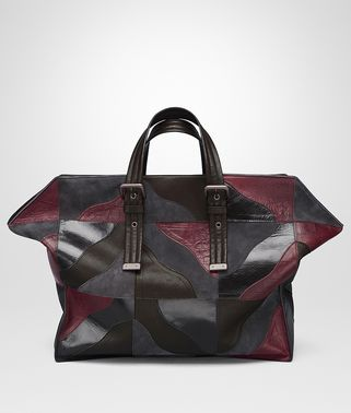 TOTE BAG IN MULTICOLOR MULTIMATERIAL, PRINTED CROCODILE DETAILS