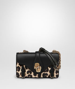 CITY KNOT BAG IN NERO CALF, LEOPARD PRINT