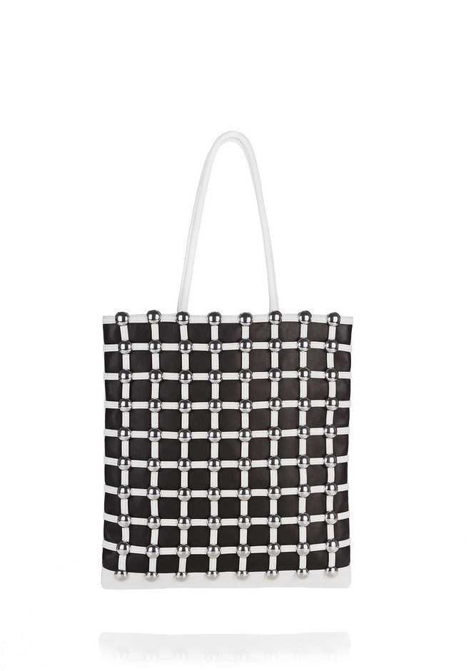 ALEXANDER WANG new-arrivals DOME STUD CAGE SHOPPER IN WHITE