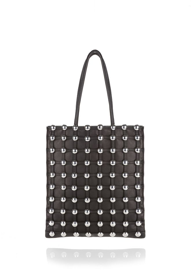 ALEXANDER WANG new-arrivals DOME STUD CAGE SHOPPER IN BLACK
