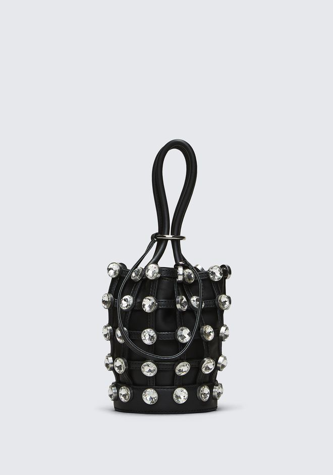 ALEXANDER WANG new-arrivals ROXY MINI BUCKET BAG IN BLACK WITH GLASS STONES