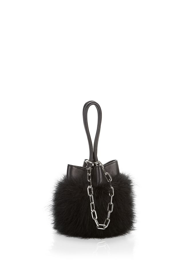 ALEXANDER WANG Shoulder bags Women MARABOU ROXY MINI BUCKET BAG WITH RHODIUM