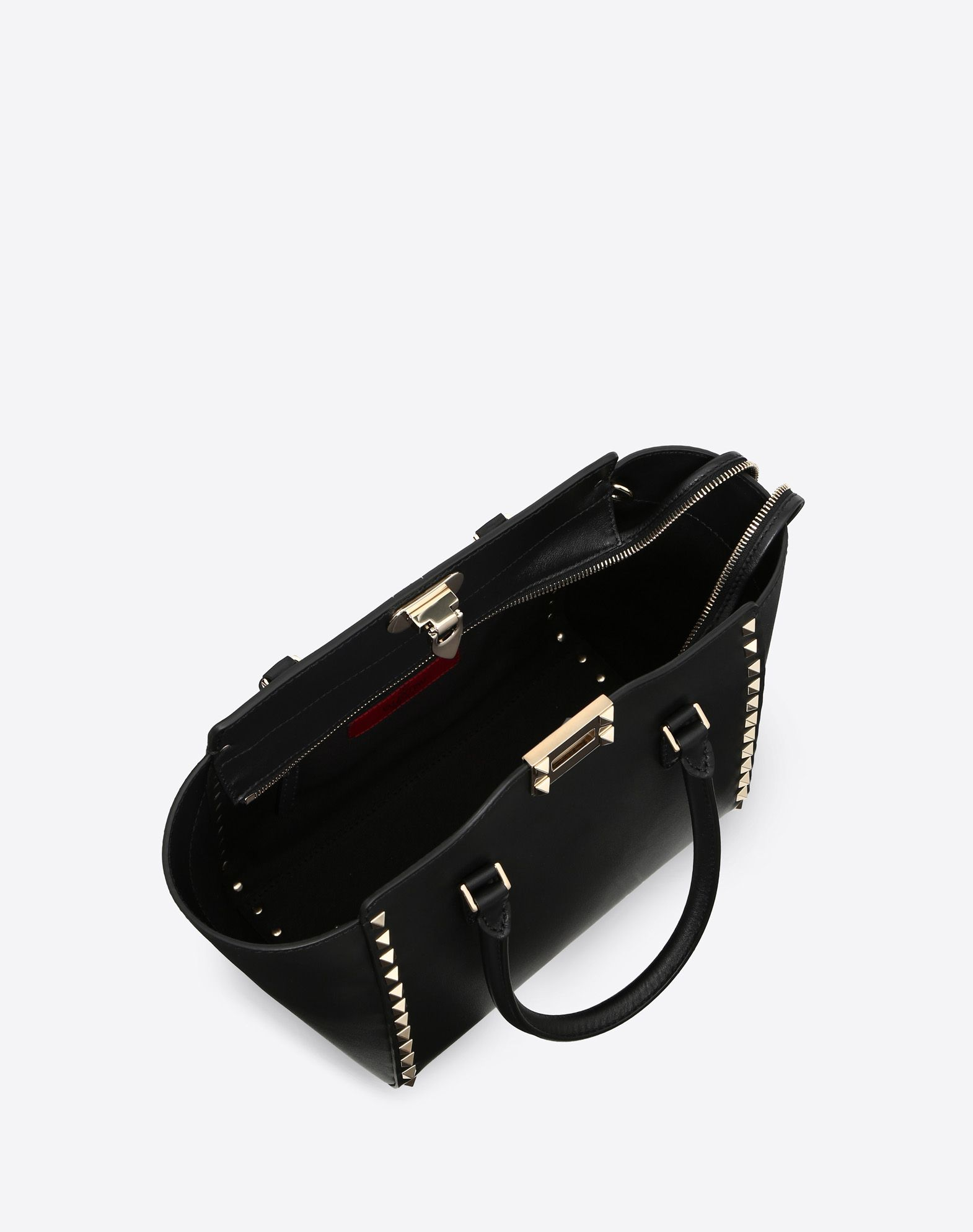 VALENTINO Studs Logo Solid color Internal pockets Removable shoulder strap  45341383lj