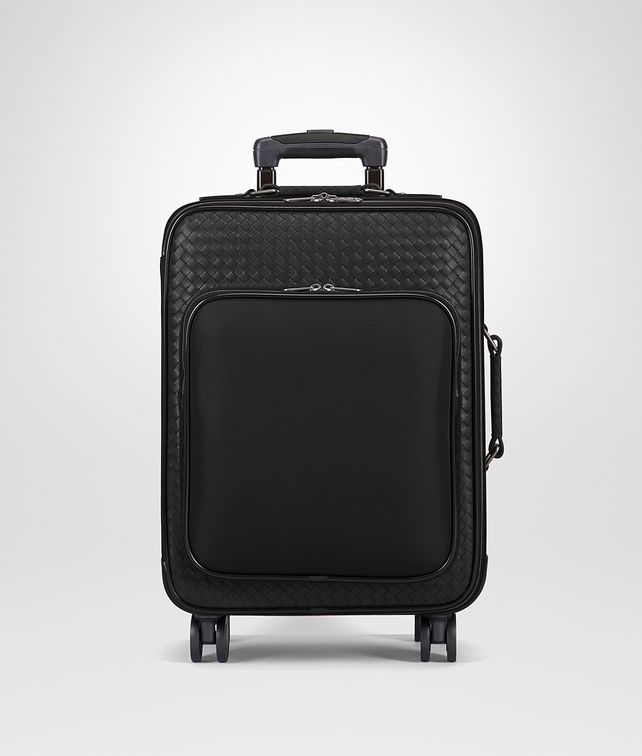 BOTTEGA VENETA TROLLEY IN NERO TECHNICAL CANVAS AND INTRECCIATO CALF Trolley and Carry-on bag E fp