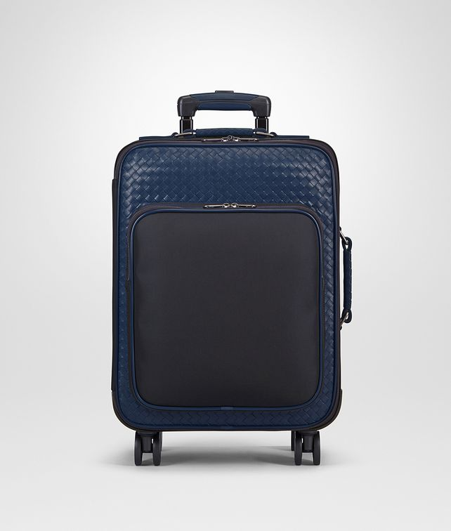 BOTTEGA VENETA TROLLEY IN TOURMALINE TECHNICAL CANVAS AND PACIFIC INTRECCIATO CALF Trolley and Carry-on bag E fp