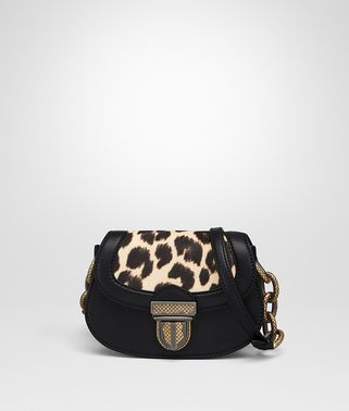 UMBRIA BAG IN NERO CALF, LEOPARD PRINT