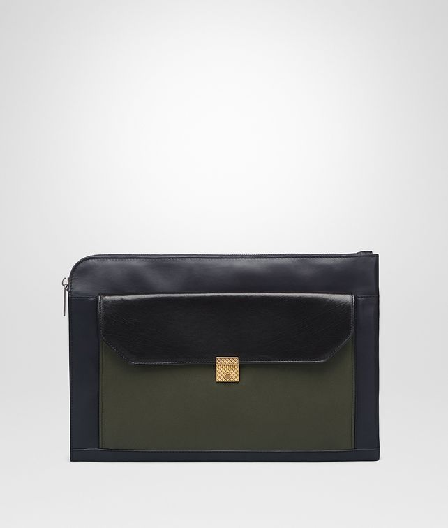 BOTTEGA VENETA PORTE-DOCUMENTS EN VEAU DARK NAVY NERO DARK SERGEANT Petit sac U fp