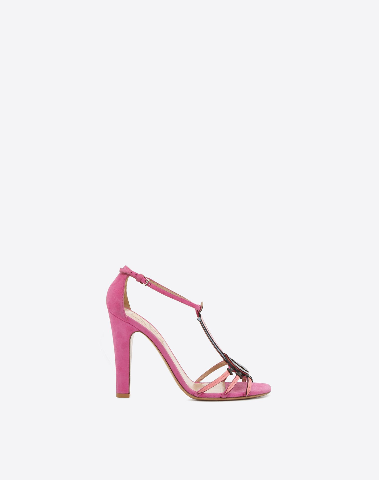 VALENTINO Sueded effect Round toeline Leather sole Buckle Covered heel  45342637nj