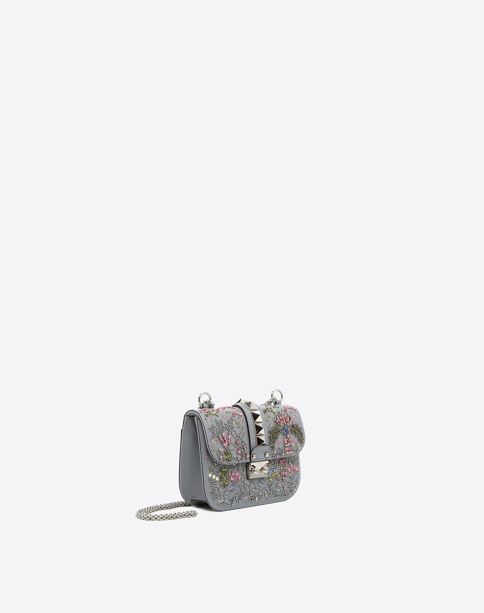 VALENTINO Logo Rhinestones Contrasting applications Framed closure External pocket Internal pockets Metallic straps  45343165we