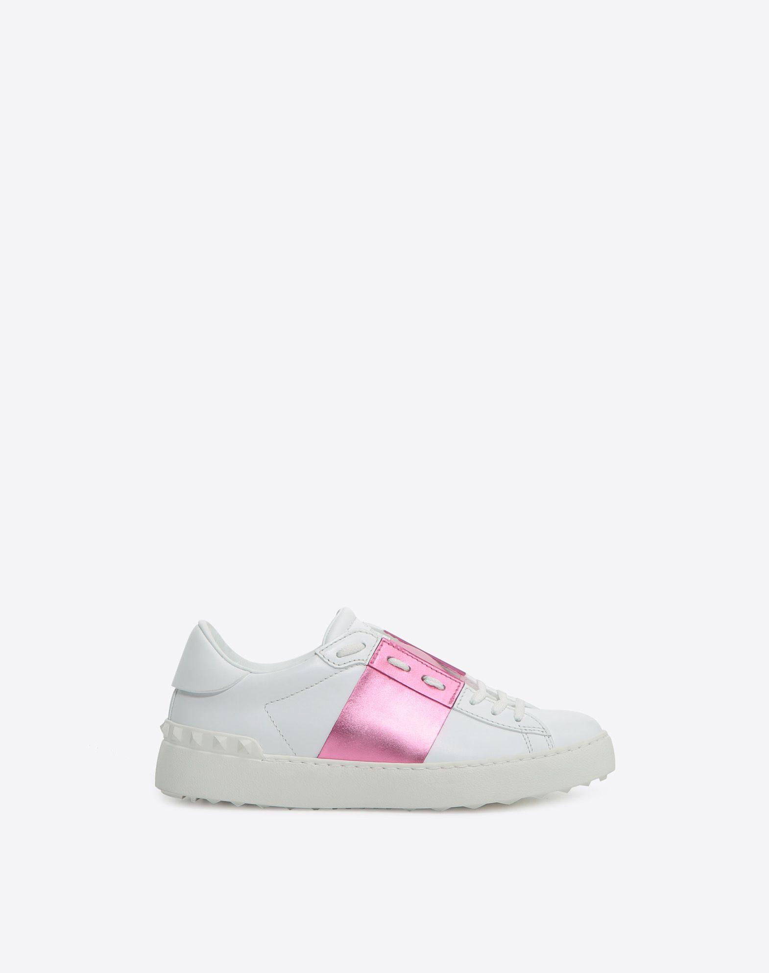 Chaussures De Sport De Fourrure Rockstud Ouvert Valentino Blanc Rose Vxt4IQYf