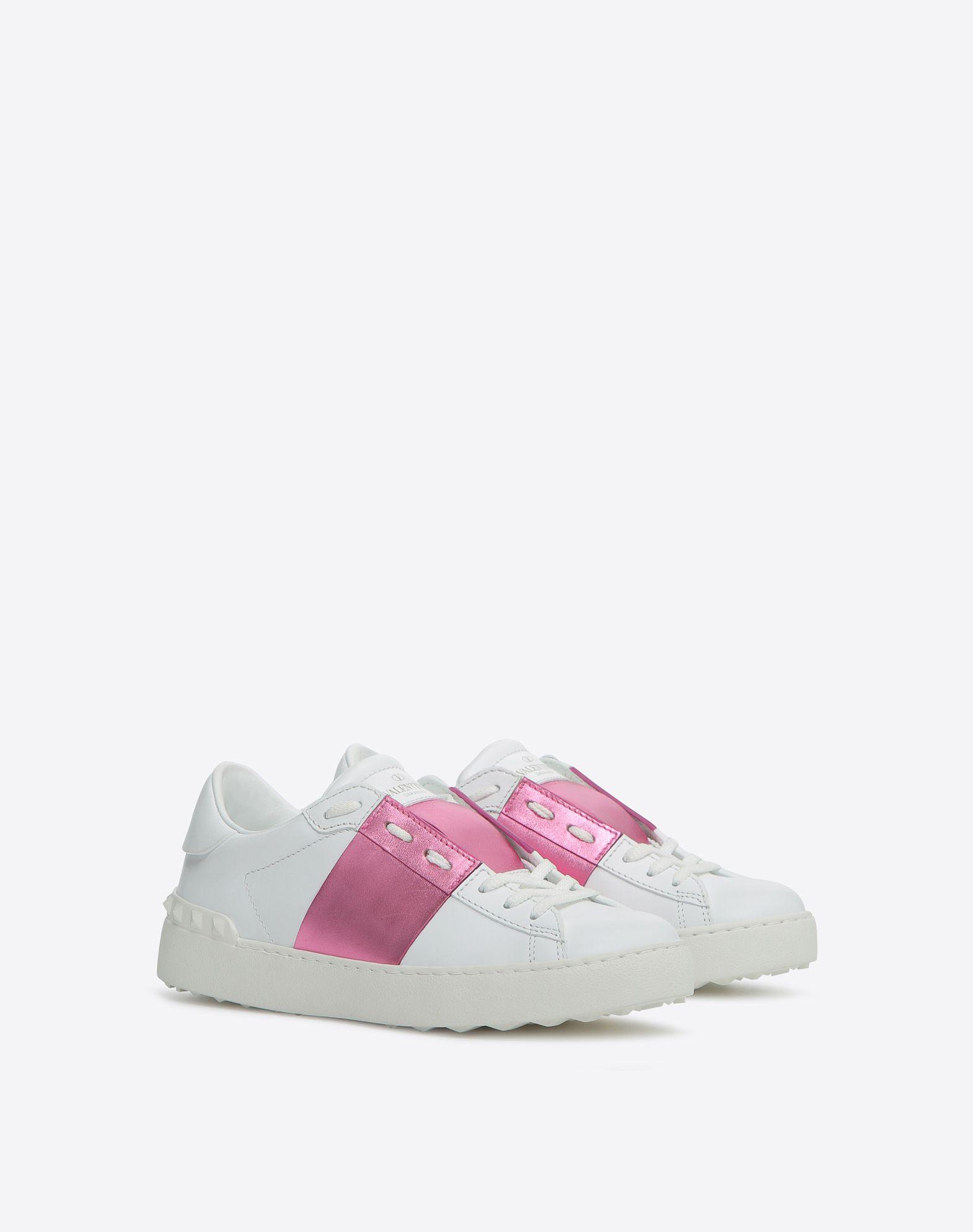 White and Pink Valentino Garavani Rockstud Open Sneakers Valentino 4BPsPsdsL