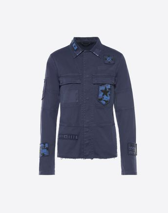 VALENTINO INDIGO BLOUSON WITH EMBROIDERED PATCHES 45343282XI