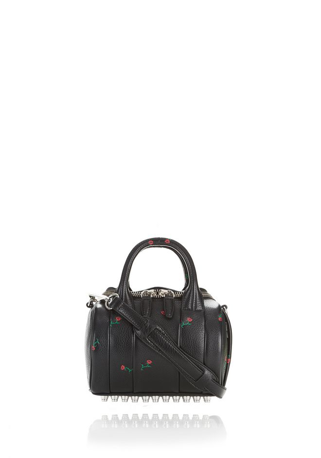 ALEXANDER WANG rockie-rocco ROSE EMBOSSED MINI ROCKIE IN SOFT PEBBLED BLACK WITH RHODIUM
