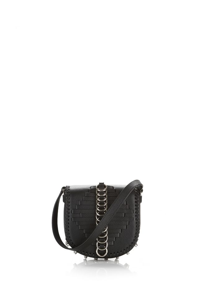 ALEXANDER WANG mini-bags WOVEN MINI LIA SLING IN BLACK WITH RING DETAIL