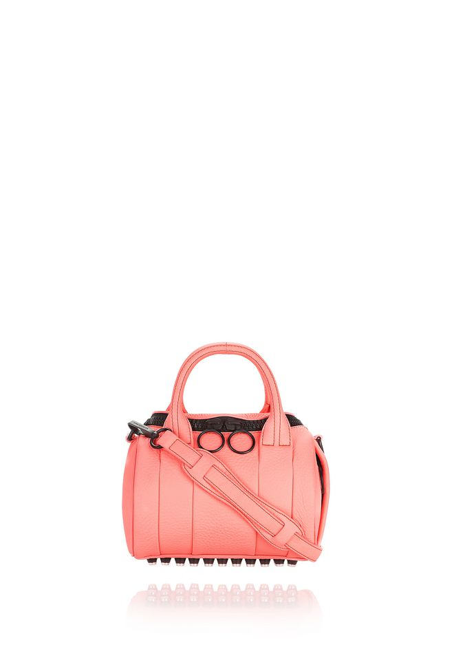 ALEXANDER WANG mini-bags MINI ROCKIE IN PEBBLED FLUO CORAL WITH MATTE BLACK