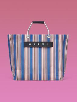Marni MARNI MARKET blue striped shopping bag in polyamide  Man