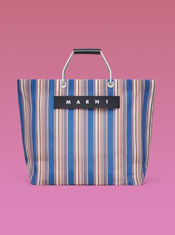 Marni MARNI MARKET blue striped shopping bag in polyamide  Man