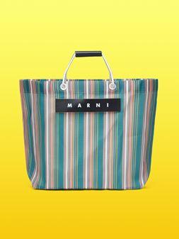 Marni MARNI MARKET green and orange striped shopping bag in polyamide  Man