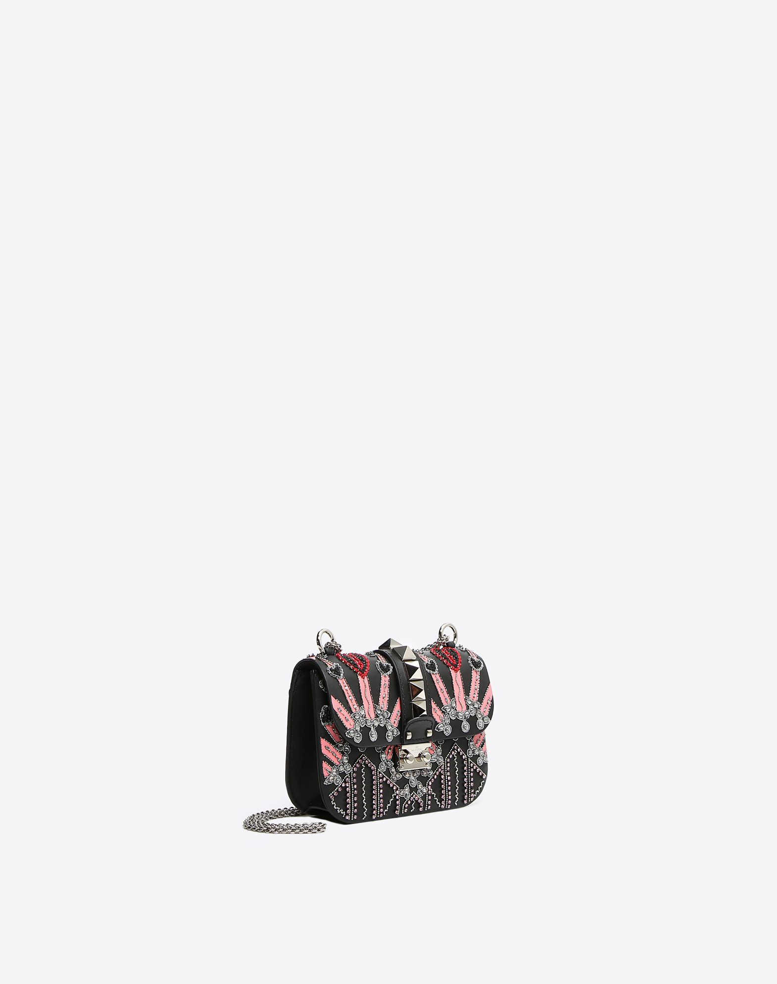 VALENTINO Logo Contrasting applications Two-tone pattern Framed closure External pocket Internal pockets Metallic straps  45344229uv