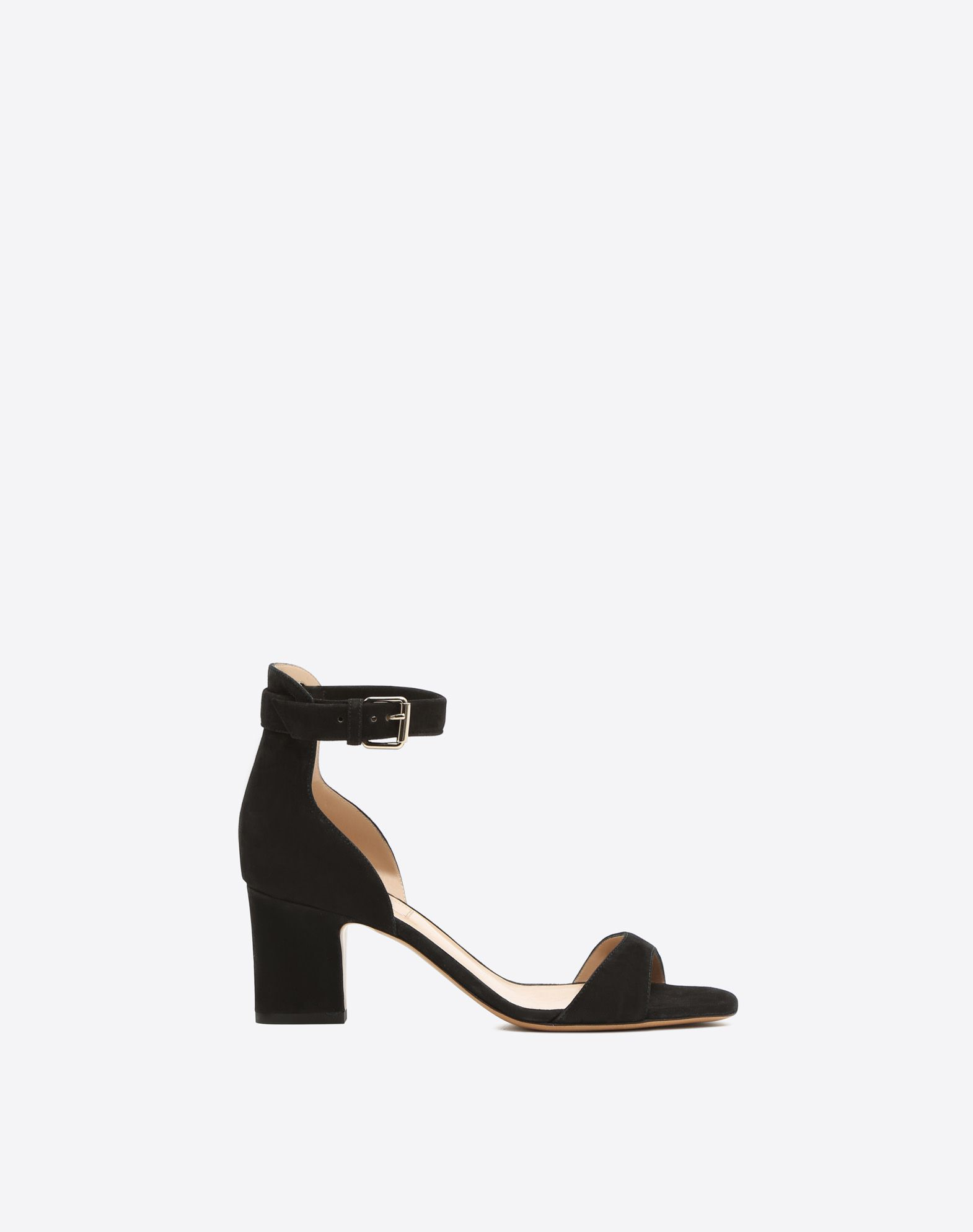 VALENTINO Sueded effect Square toeline Solid colour Leather sole Buckle Square heel  45344232ft