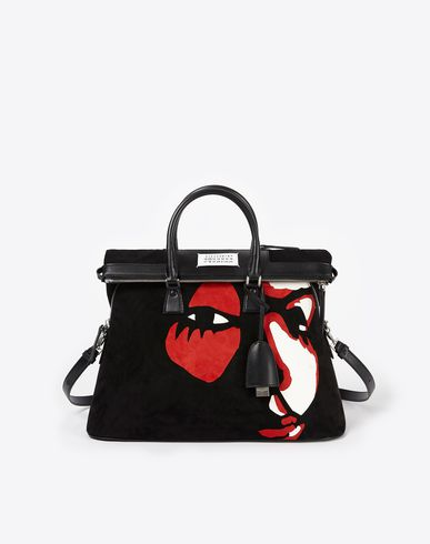 MAISON MARGIELA Handbag D Suede 5AC with face appliqué f