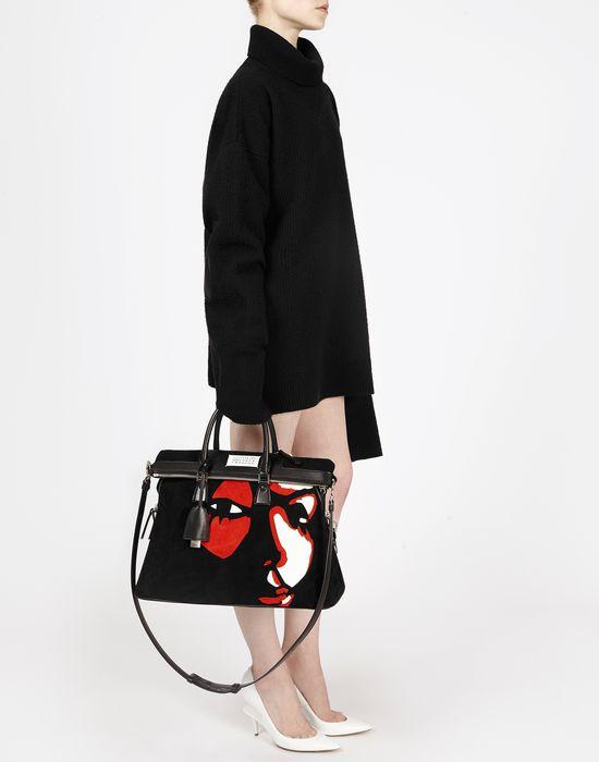 MAISON MARGIELA Suede 5AC with face appliqué Handbag Woman b