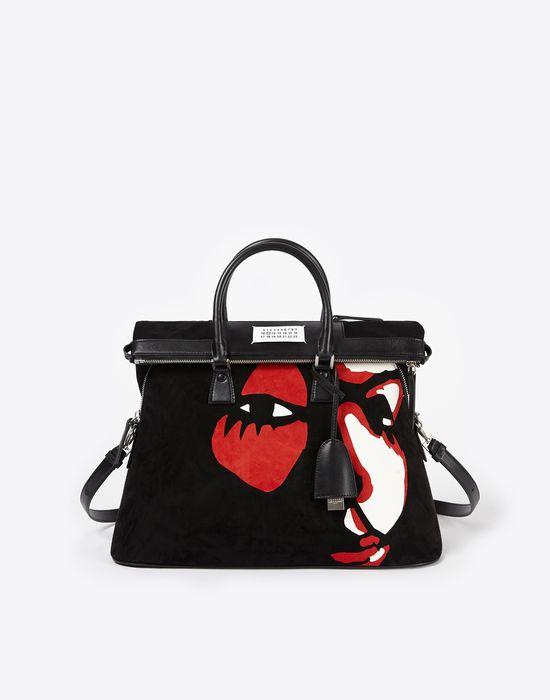 MAISON MARGIELA Suede 5AC with face appliqué Handbag Woman f