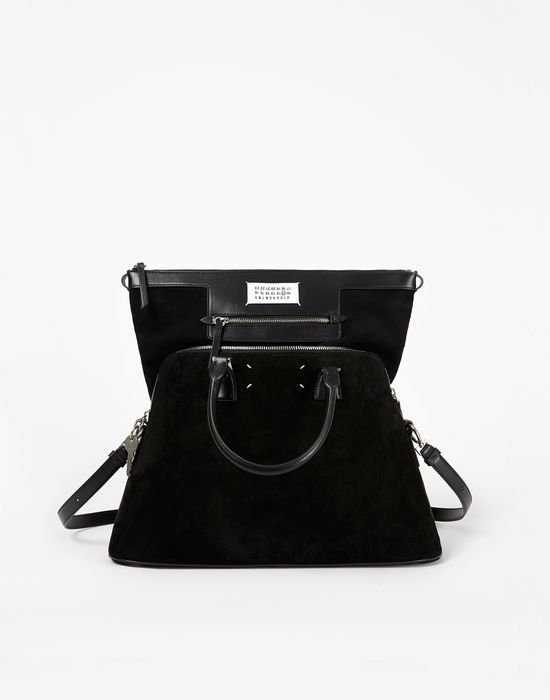 MAISON MARGIELA Suede 5AC with face appliqué Handbag D r