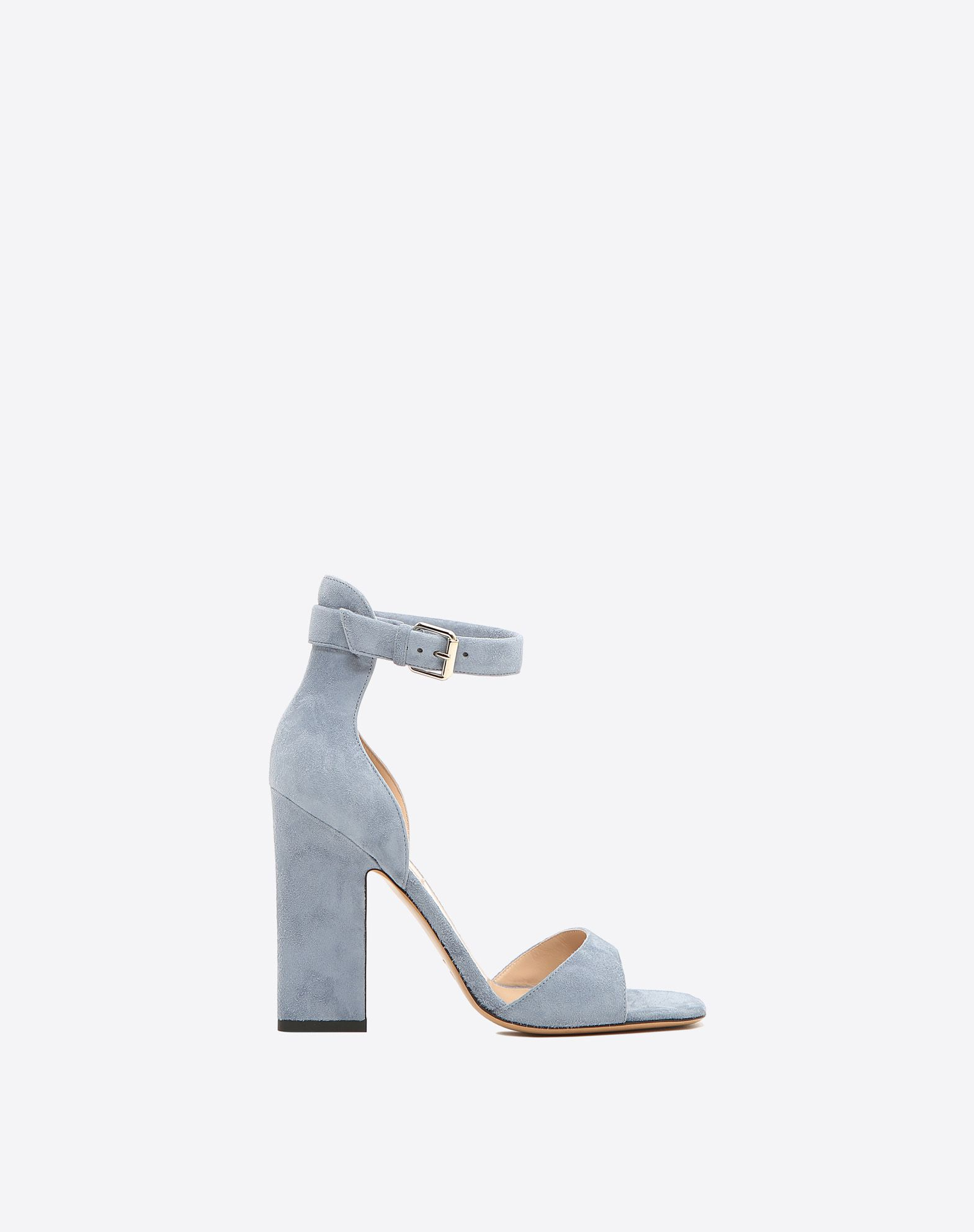 VALENTINO Sueded effect Square toeline Leather lining Solid colour Leather sole Buckle Covered heel Square heel  45345360dq