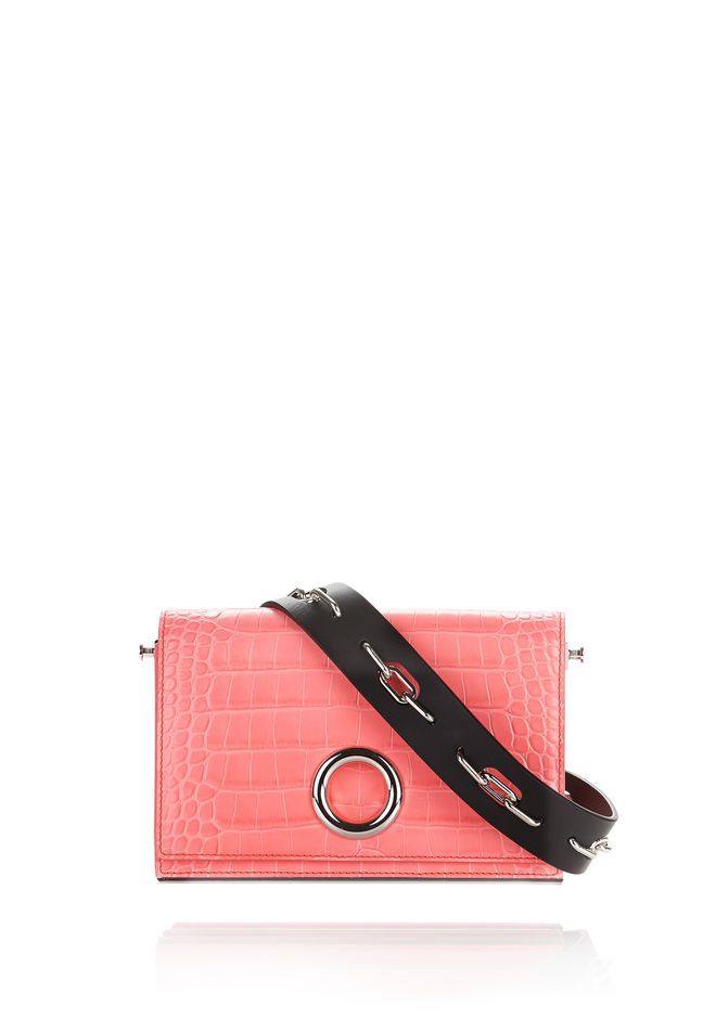 ALEXANDER WANG Shoulder bags CROC EMBOSSED RIOT CONVERTIBLE CLUTCH IN FLUO CORAL WITH RHODIUM