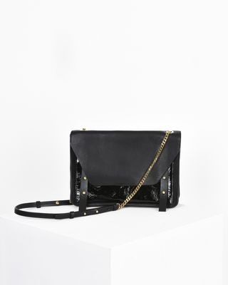 Mallia suede calfskin and calf leather bag with chain shoulder strap
