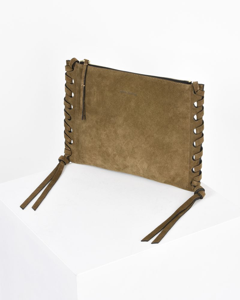 Kemos zipped clutch bag with suede calfskin shoulder strap ISABEL MARANT