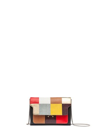 Marni TRUNK clutch in shiny elaphe Woman