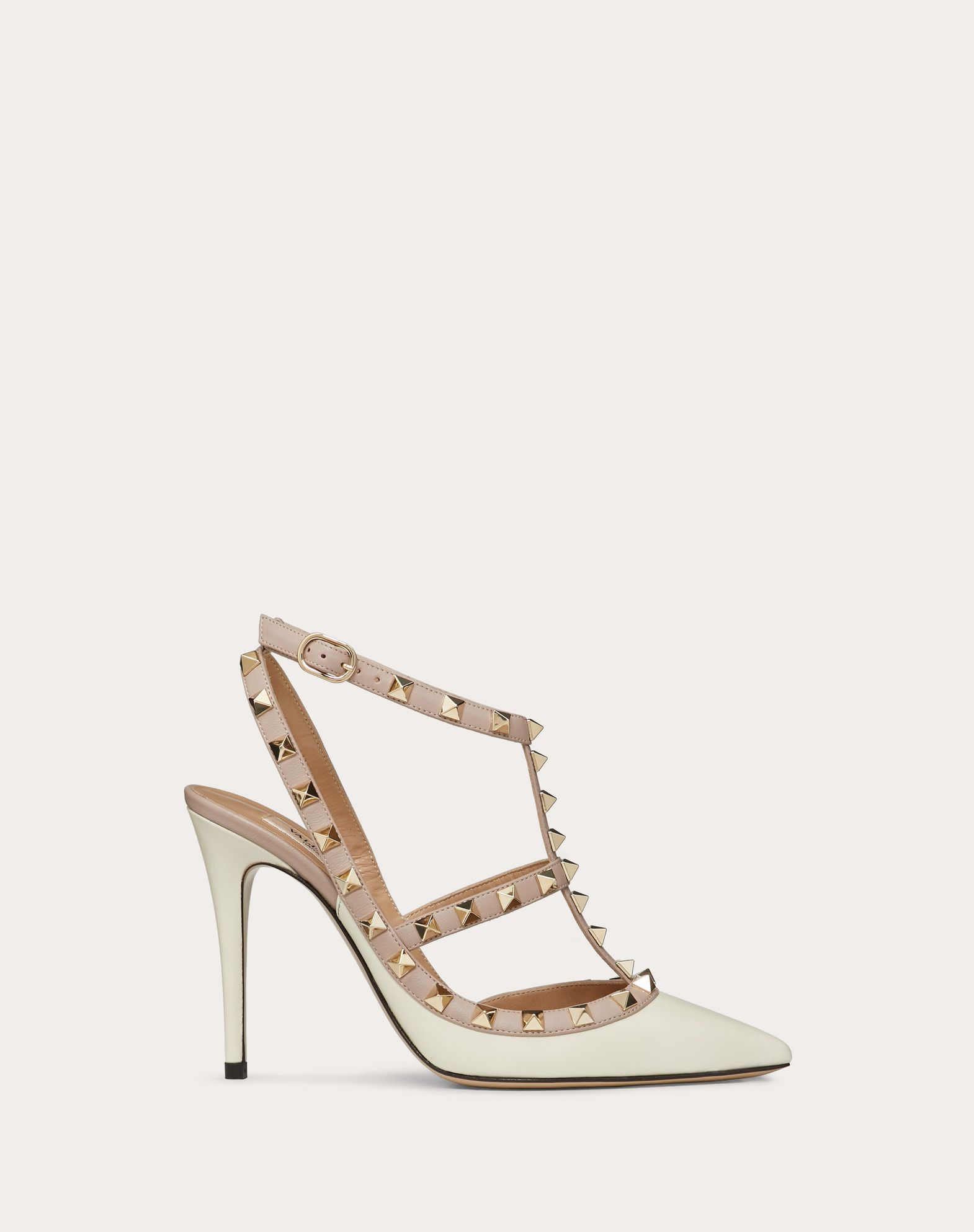 VALENTINO Studs Side buckle closure Narrow toeline Leather sole  45348575mb