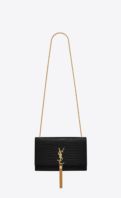SAINT LAURENT MONOGRAM KATE Woman kate medium with tassel in embossed  crocodile shiny leather V4 bc57b735e7eed