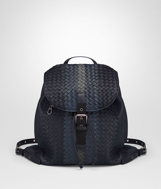 BOTTEGA VENETA RUCKSACK AUS INTRECCIATO CLUB-LAMMLEDER IN DARK NAVY DENIM ARDOISE Messenger Tasche Herren fp