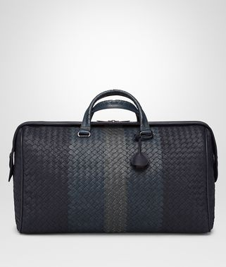 BORSA DA VIAGGIO MEDIA IN AGNELLO INTRECCIATO CLUB NEW DARK NAVY DENIM ARDOISE