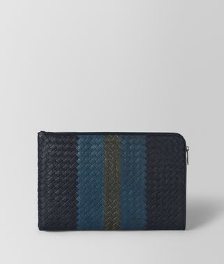DOCUMENT CASE IN NEW DARK NAVY DENIM ARDOISE INTRECCIATO LAMB CLUB