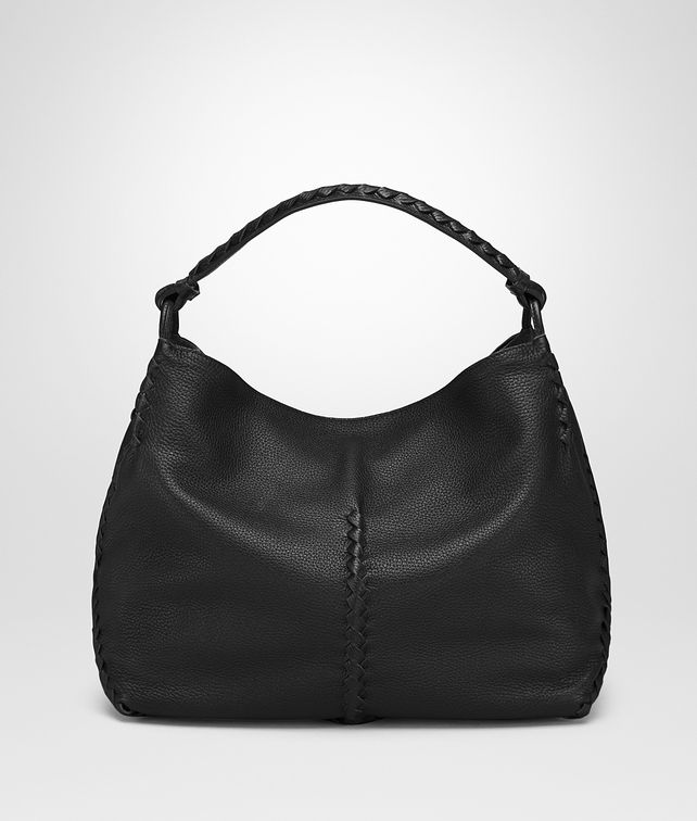 BOTTEGA VENETA MEDIUM SHOULDER BAG IN NERO CERVO Shoulder or hobo bag Woman fp