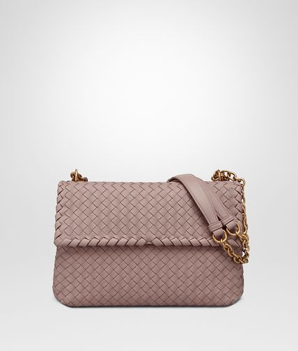BOTTEGA VENETA Shoulder or hobo bag D MEDIUM OLIMPIA BAG IN DESERT ROSE INTRECCIATO NAPPA LEATHER fp