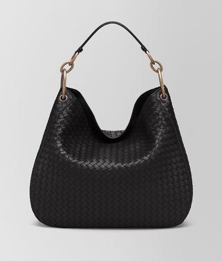LARGE LOOP BAG IN NERO INTRECCIATO NAPPA