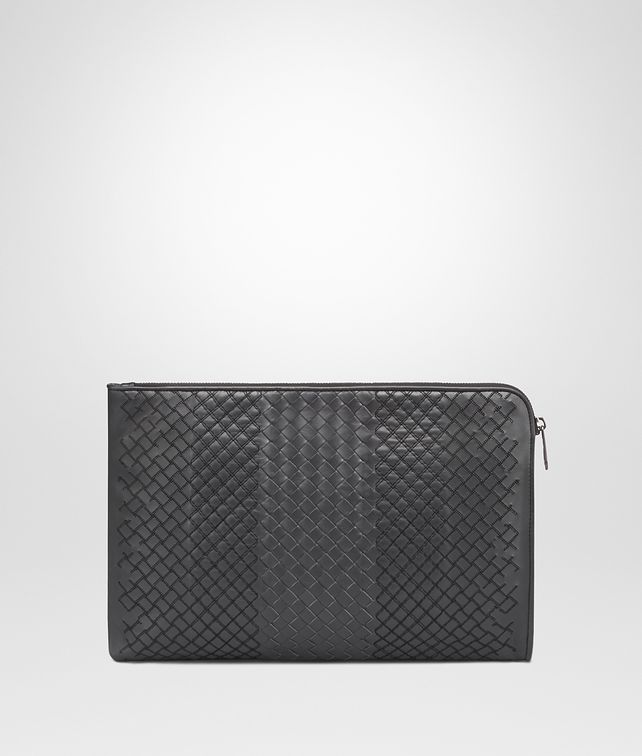 BOTTEGA VENETA DOCUMENT CASE IN ARDOISE INTRECCIO AURELIO CALF, EMBROIDERY DETAIL Small bag Man fp