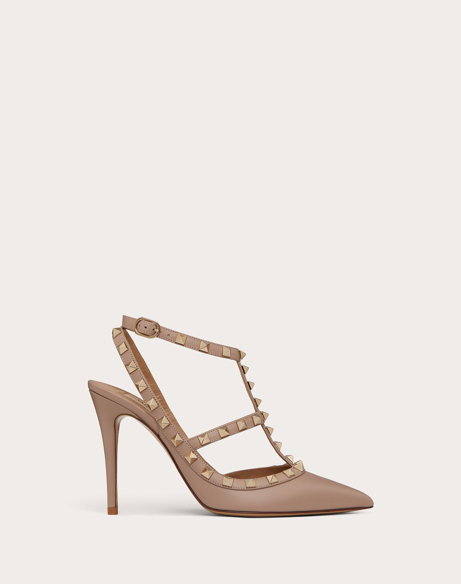 VALENTINO Spike heel Studs Buckling ankle strap closure Narrow toeline Leather sole  45350468bt