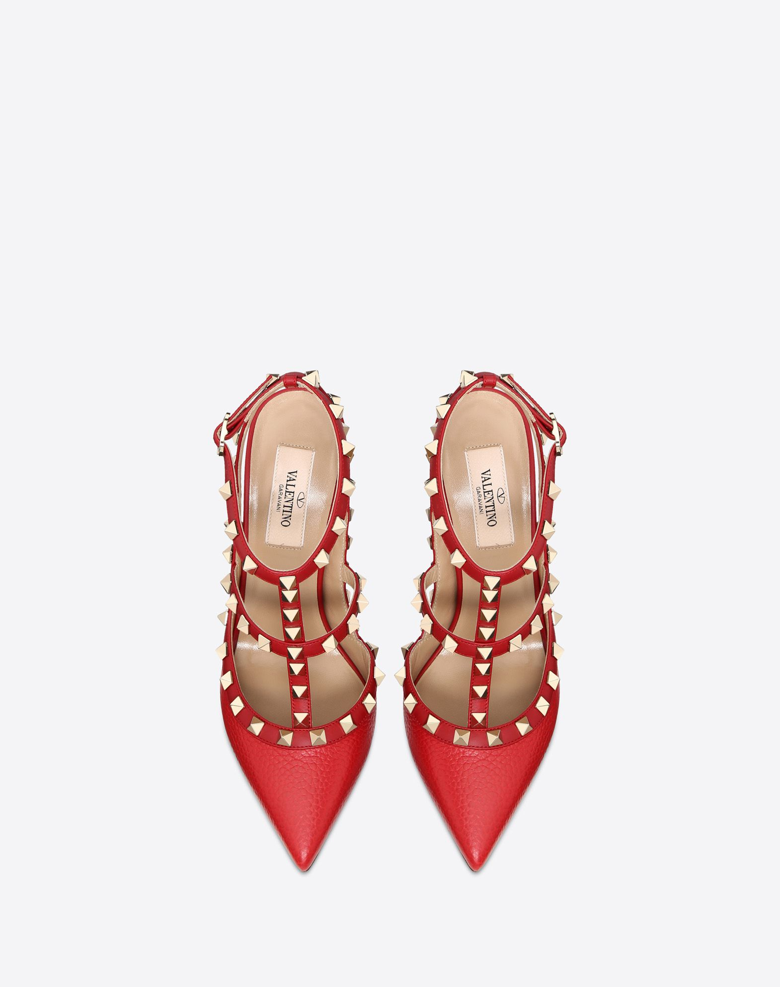 VALENTINO Textured leather Studs Buckling ankle strap closure Narrow toeline Leather sole  45350473cp
