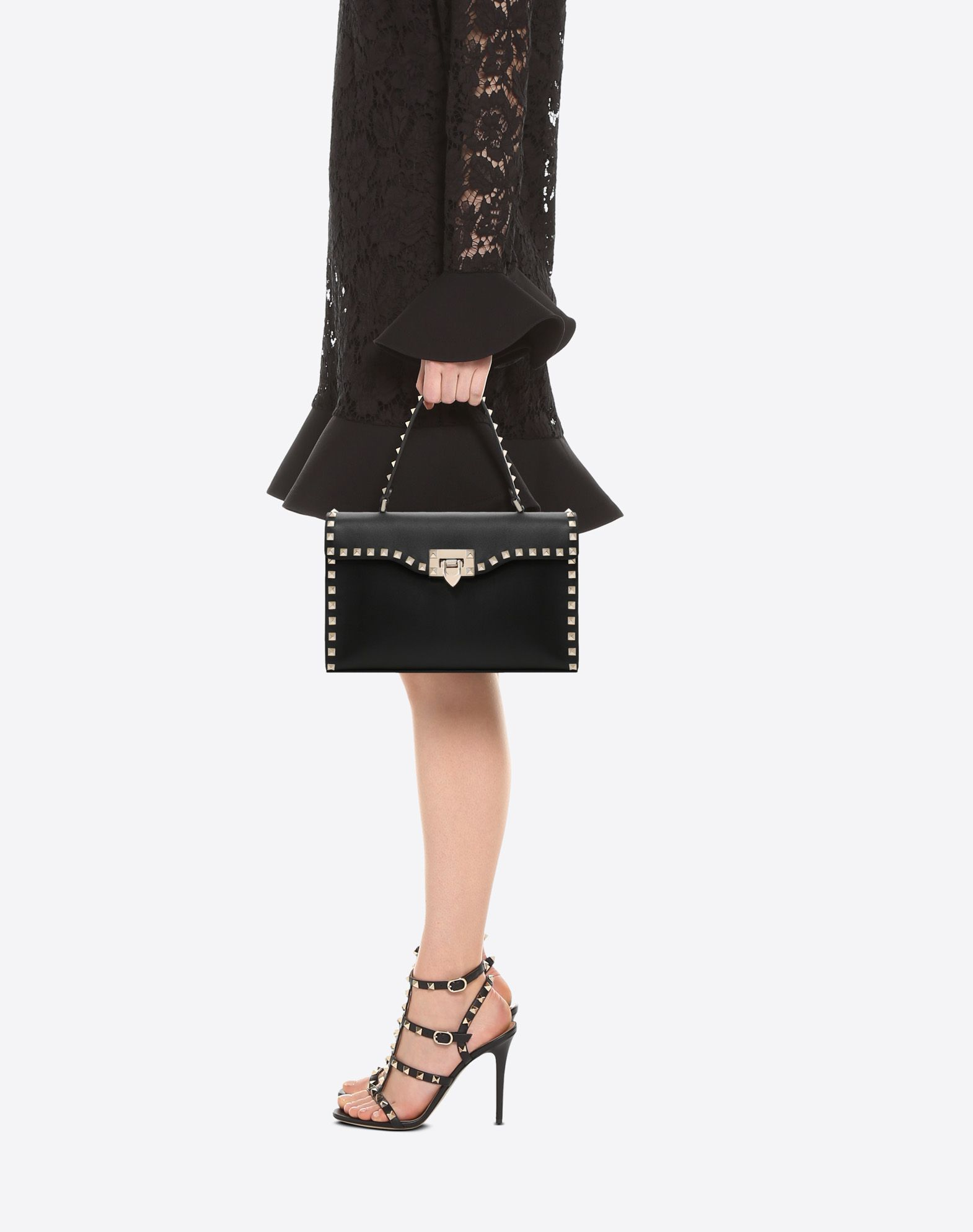 VALENTINO GARAVANI Small Rockstud Top Handle Bag HANDBAG D a