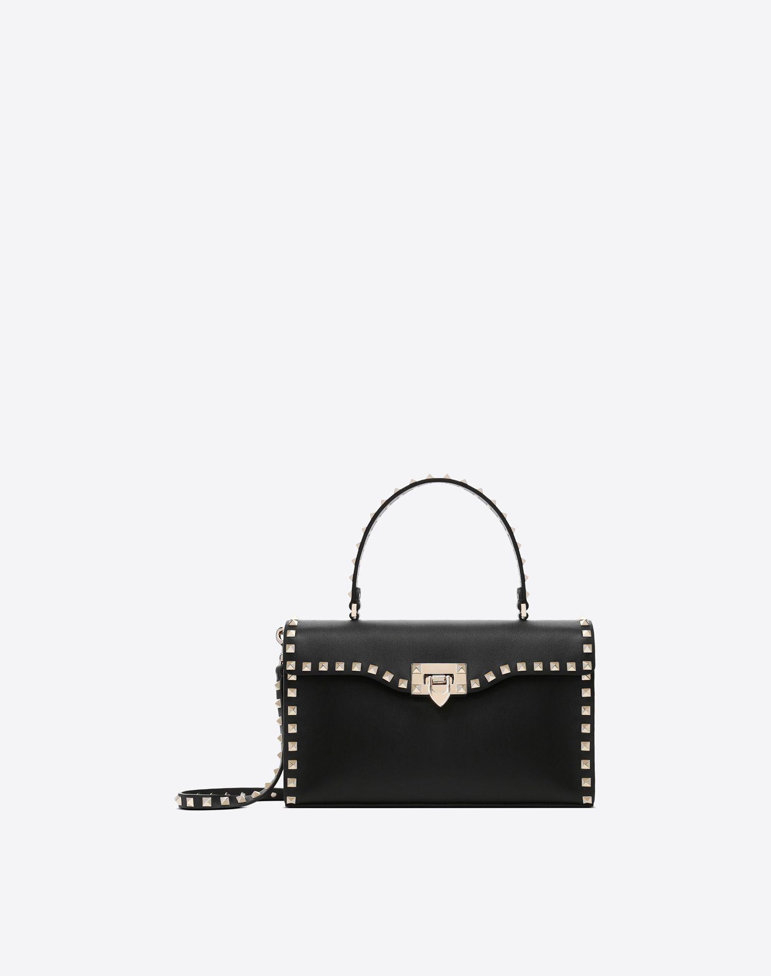 VALENTINO GARAVANI Small Rockstud Top Handle Bag HANDBAG D f