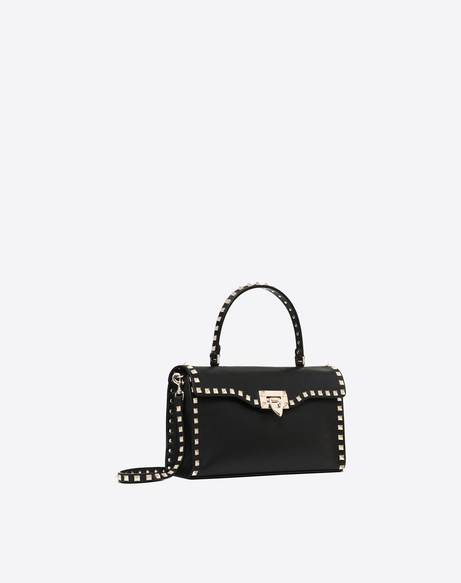 VALENTINO GARAVANI Small Rockstud Top Handle Bag HANDBAG D r